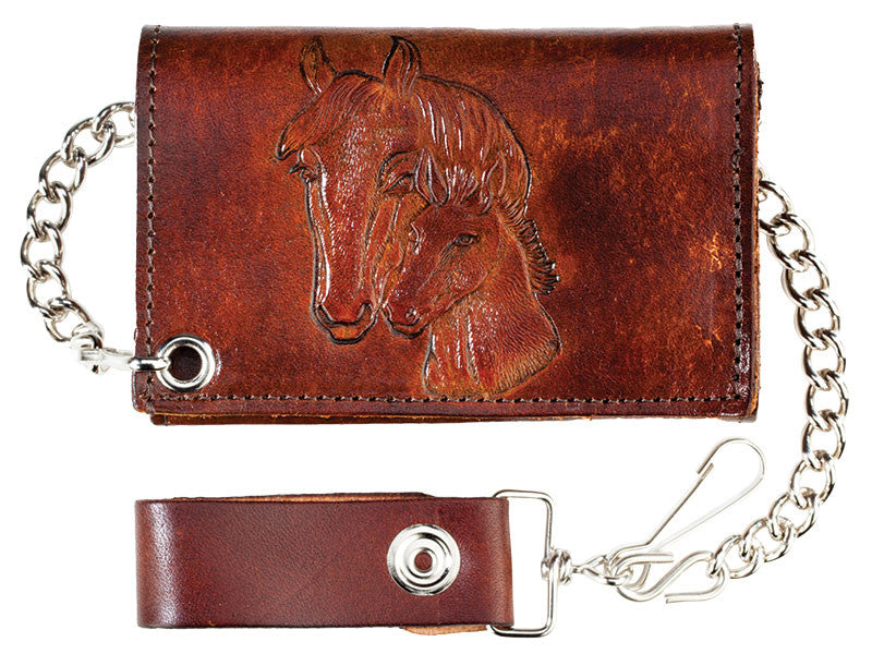 Antique Leather Trifold Wallet with Chain and Horses (Made In The USA)