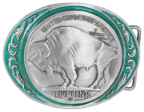 Buffalo Coin Enameled Belt Buckle