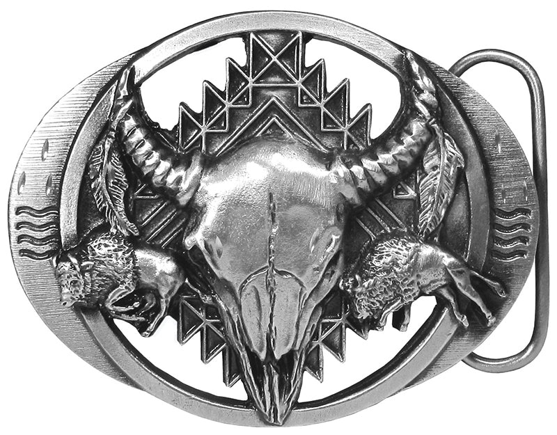Buffalo Skull Bison Belt Buckle - Made in USA