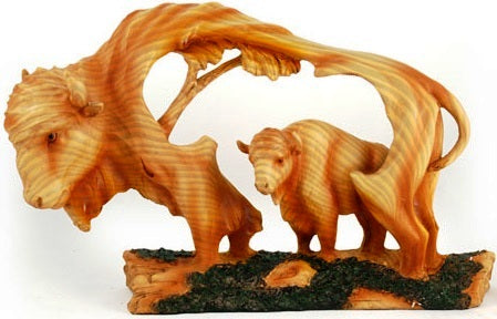 Large Woodlike Carving - Buffalo