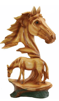 Western Wood Like Carved Horse Scene Sculpture