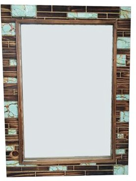 Wooden Mirror with Turquoise Inlay