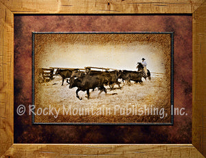 """The Gathering"" Framed & Matted Western Print"
