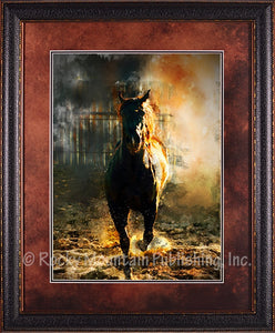 """Fire and Mane"" Framed & Matted Western Print"