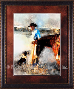 """Partner for Life"" Framed & Matted Western Print"