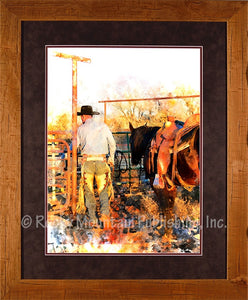 """Start of a Day"" Framed & Matted Western Print"