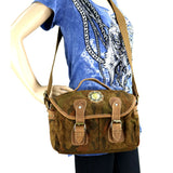 Genuine Leather Washed Canvas Shoulder/Crossbody Travel Bag - 3 Colors Available!