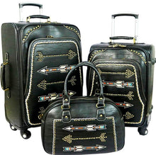 Load image into Gallery viewer, Arrow 3-Piece Wheeled Luggage Set - Black