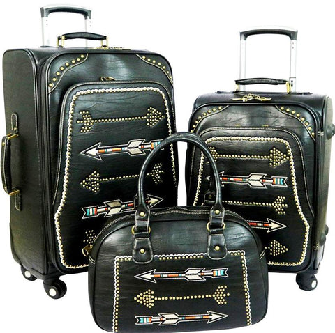 Arrow 3-Piece Wheeled Luggage Set - Black