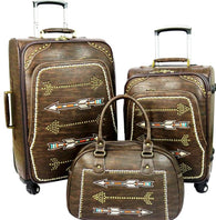 Arrow  3-Piece Wheeled Luggage Set - Coffee