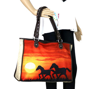 Sunset Horses Painting Canvas Tote Bag - Tan