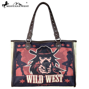 Wild Wild West Painting Canvas Tote Bag - Tan