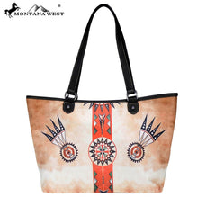 Load image into Gallery viewer, Western Aztec Native American Fabric Wide Tote
