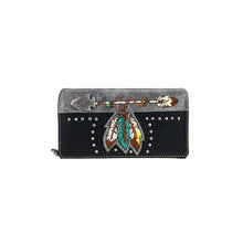 Load image into Gallery viewer, Ladies' Embroidered Arrow & Feather Wallet - Choose From 2 Colors!