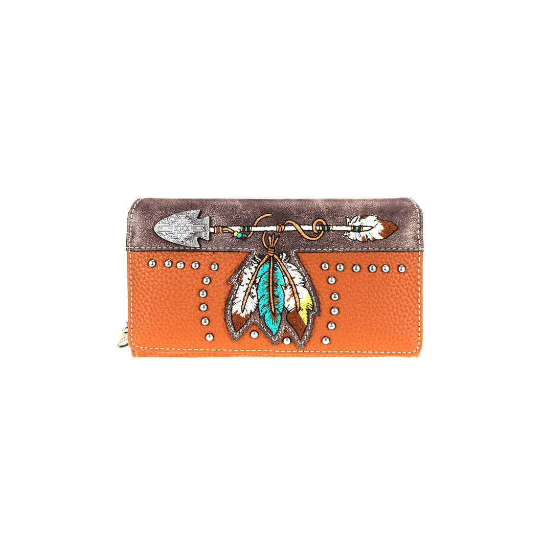 Ladies' Embroidered Arrow & Feather Wallet - Choose From 2 Colors!