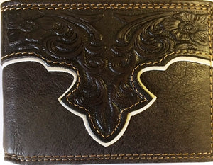 Western Tooled Leather Money Clip - Coffee