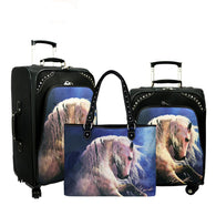 Western Horse Art 3-Piece Wheeled Luggage Set - Black