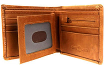 Load image into Gallery viewer, Men's Genuine Leather Tooled Bi-Fold with Color Inlay Wallet - Brown