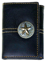 Western Tri-Fold Wallet with Lonestar Concho - 3 Colors Available!