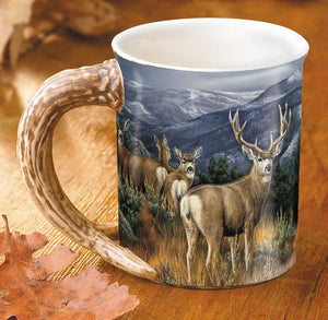 """Last Glance"" Mule Deer Sculpted Coffee Mug"