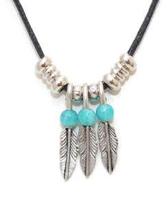 Triple Feather Necklace with 3 Turquoise Beads
