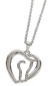 Horse Head in Heart Necklace
