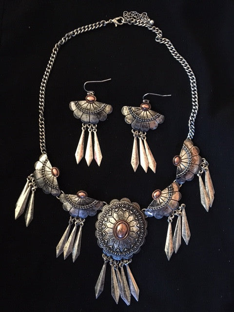 Western Silver & Copper Necklace & Earrings with Feathers
