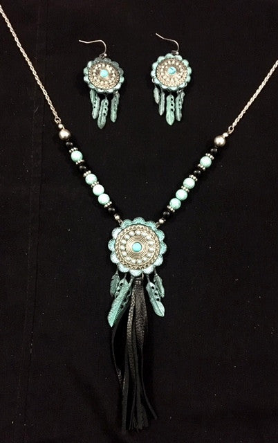 Western Silver & Turquoise Concho Necklace with Tassel and Matching Earrings