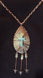 Western Copper Necklace with Arrows & Turquoise Cross