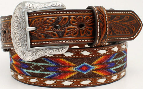 Men's Aztec Buck Laced Ribbon Inlay Leather 1-1/2