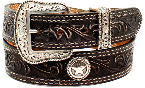 """San Antonio"" Men's Western Black Tooled Leather Belt with Star Conchos (1-1/2"")"