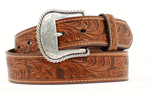 Men's Tan Floral Embossed Leather Belt  - 1-1/2