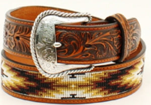 "Men's Aztec Pattern with Floral Embossing Leather 1-1/2"" Belt by Nocona"