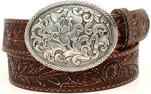 "Ladies' ""Belle Forche"" Western Brown Tooled Belt with Silver Buckle"