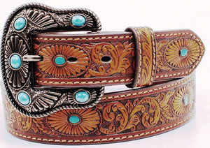 Ladies' Western Brown Tooled Belt with Turquoise Stones