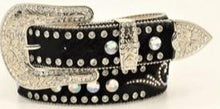 Load image into Gallery viewer, Ladies' Bling & Conchos Calf Hair Belt Black - XL