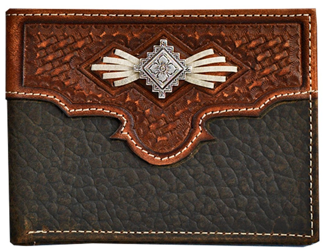 Western Aztec Leather Bi-Fold Wallet