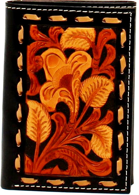 Western Tan, Black & Brown Tooled Tri-Fold Wallet