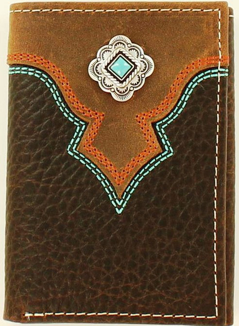 Western Brown Tri-Fold Wallet with Turquoise Concho