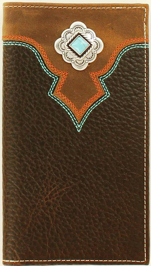 Western Brown Rodeo Wallet with Turquoise Concho