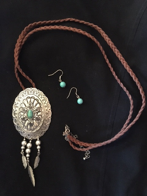 Western Oval Silver and Turquoise Concho Necklace and Earrings