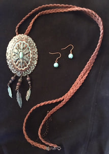 Western Oval Burnished Copper and Turquoise Concho Necklace and Earrings