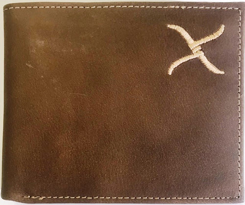 Twisted-X Brown Distressed Bi-Fold Wallet with Gold Embroidered Logo