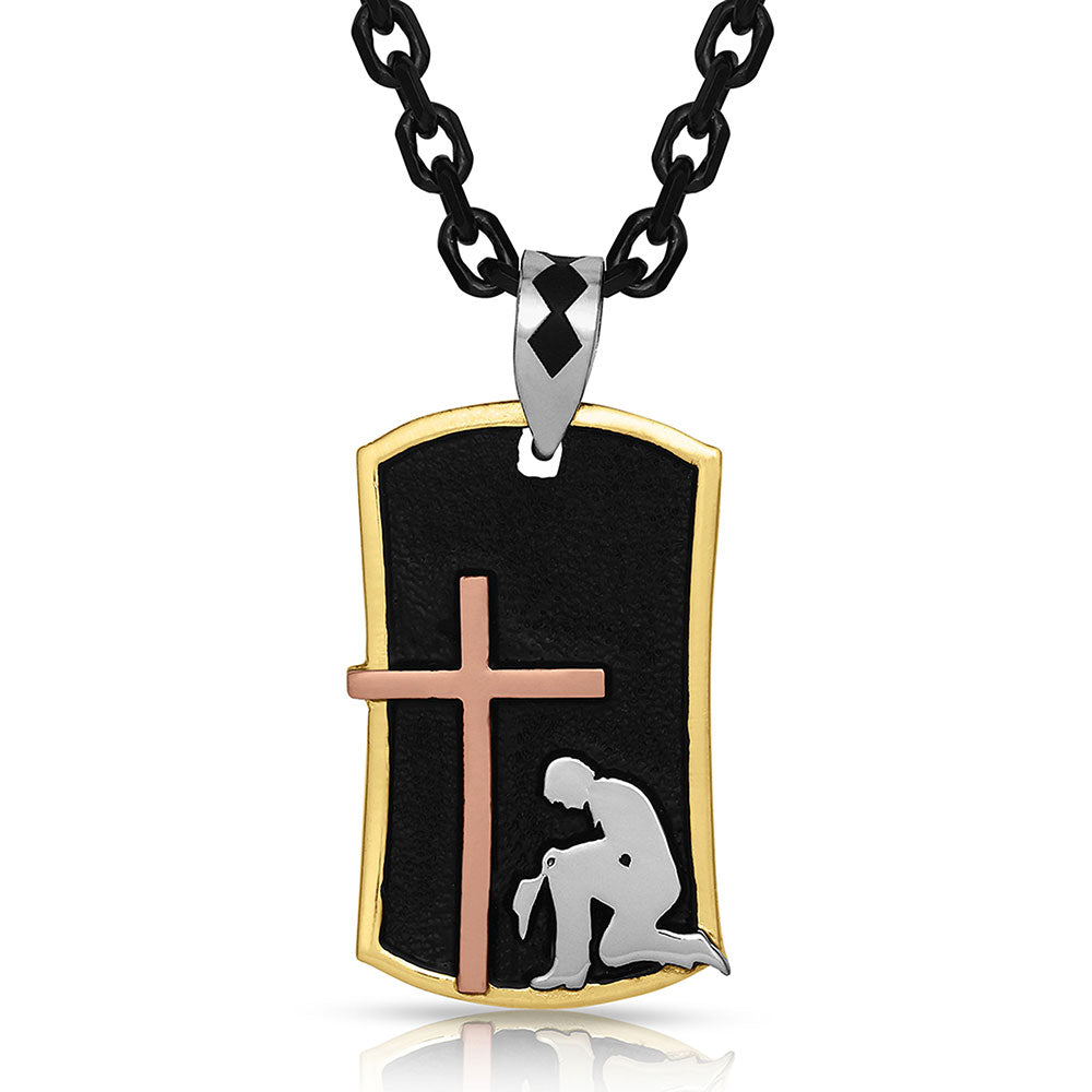 Western Cross Dog Tag Necklace
