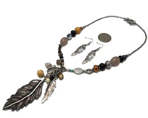 Necklace and Earring Set - Feather and Beads