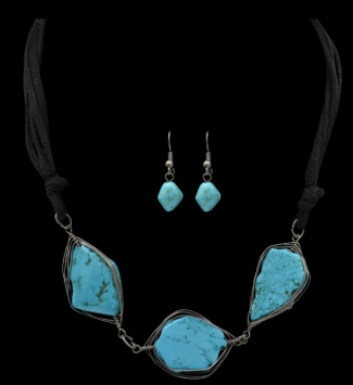 d58c92bbc Silver Strike Turquoise Stone Earring & Necklace Set NE1600917 – Wild West  Living