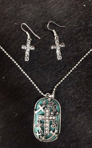 Western Silver & Turquoise Cross Dog Tag Necklace and Earrings