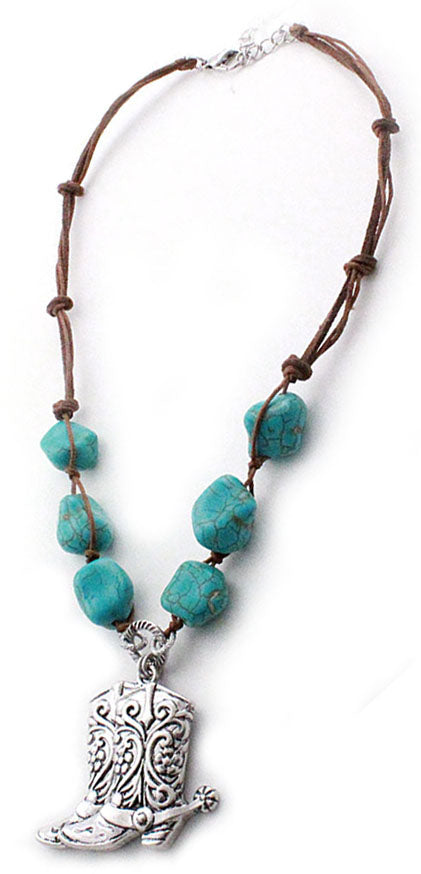 Antique Silver Boots Necklace with Turquoise