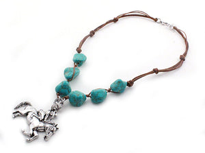 Antique Silver Cowgirl Necklace with Turquoise Beads