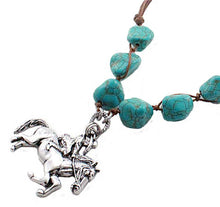 Load image into Gallery viewer, Antique Silver Cowgirl Necklace with Turquoise Beads